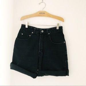 "Vintage 90's black denim high waisted shorts 26"" W"